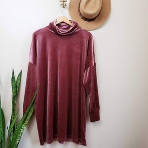 Urban Outfitters Evie Velvet Turtleneck Mini Dress